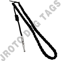 Lanyard Fourragere Black With Silver Tip Button Loop