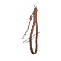 Tan With Silver Tip Lanyard Fourragere Button Loop