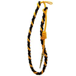 Black / Gold With Gold Tip Lanyard Fourragere Button Loop