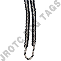 2 Color Shoulder Cord Black / White With Pin Attachment (Takes 4 Weeks)